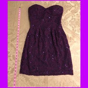 Strapless plum short dress w/ sequins